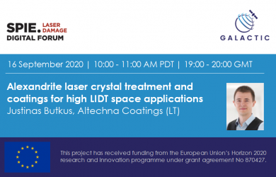 Alexandrite laser crystal treatment and coatings for high LIDT space applications